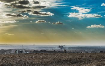 Desert Under Sunny Cloudy Blue Sky