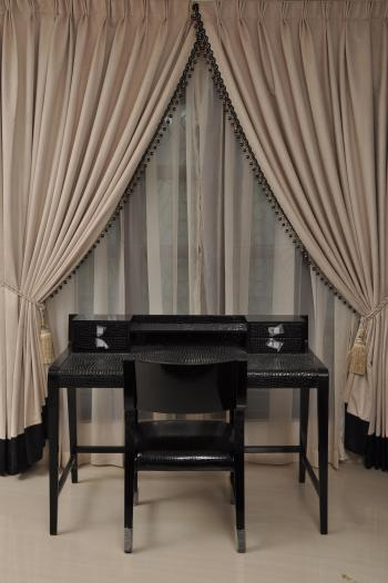 Desk with curtain background