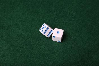 Dice on green felt table