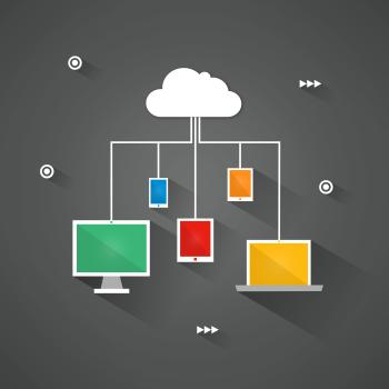 Digital devices connected to the virtual cloud - Flat design concept
