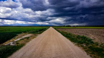 Dirt Road Surrounded With Green Field Under Cloudy Sky