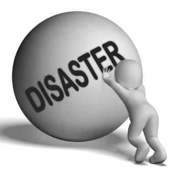 Disaster Uphill Character Shows Crisis Trouble Or Calamity