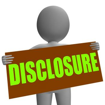Disclosure Sign Character Shows Legal Communication And Information