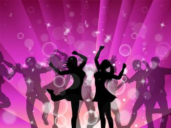Disco Women Indicates Dance Discotheque And Female