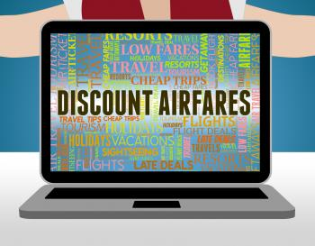 Discount Airfares Represents Selling Price And Aeroplane