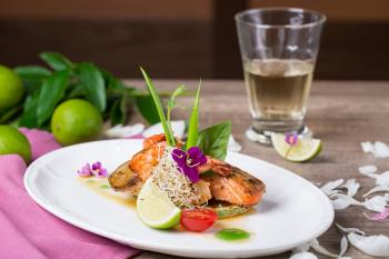 Dish of Salmon and Shrimp