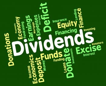 Dividends Word Shows Stock Market And Trading