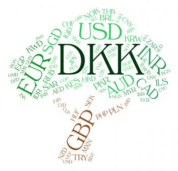 Dkk Currency Means Denmark Krone And Banknote