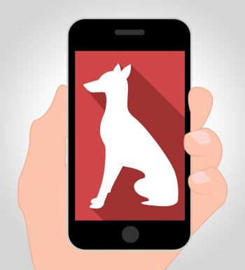 Dogs Online Means Canine Phone 3d Illustration