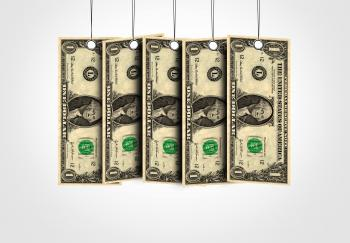 Dollar bills as labels hanging from a thread