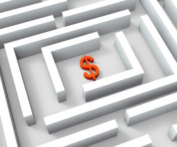 Dollar Currency In Maze Shows Dollars Credit