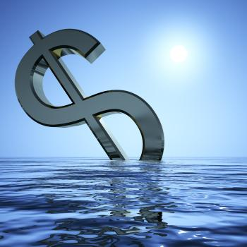 Dollar Sinking And Sun Showing Depression Recession And Economic Downt