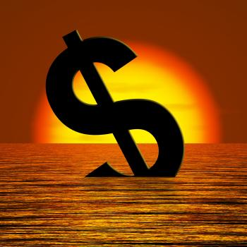 Dollar Sinking And Sunset Showing Depression Recession And Economic Do