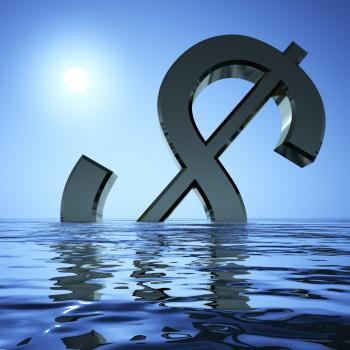 Dollar Sinking In The Sea Showing Depression Recession And Economic Do