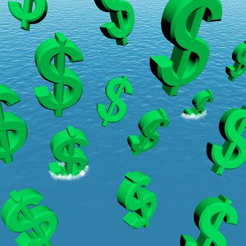 Dollars Falling In The Ocean Showing Depression Recession And Economic