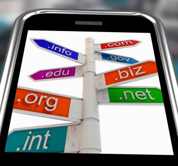 Domains On Smartphone Shows Internet Websites