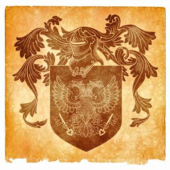 Double-Headed Eagle Grunge Emblem, Sepia