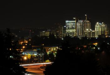 Downtown Bellevue and Interstate 520 at night from Overlake 2