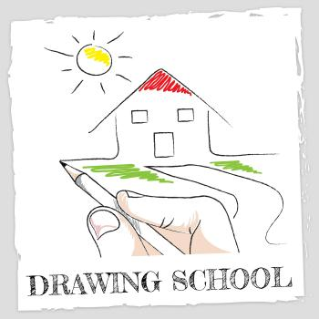 Drawing School Represents Schooling Learning And Creative
