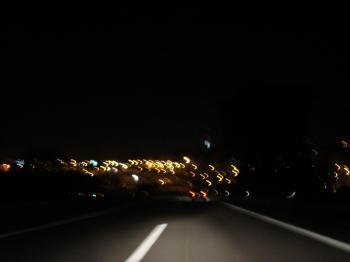 Driving fast at night