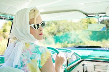 Driving Vintage Car