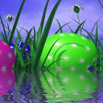 Easter Eggs Represents Green Grass And Environment