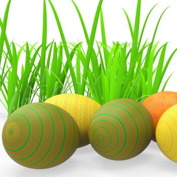 Easter Eggs Shows Green Grass And Grassland