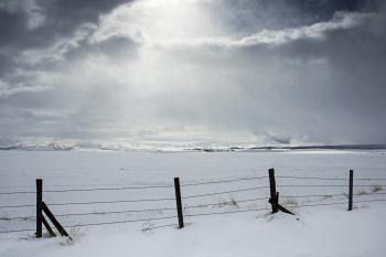 Eastern Oregon prairie in snow.