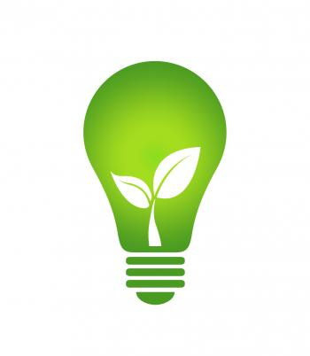 Ecology Think green light bulb