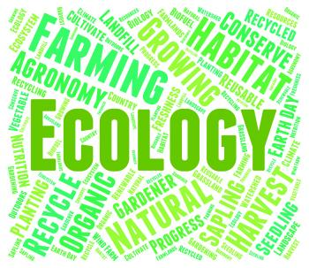 Ecology Word Means Earth Day And Environment