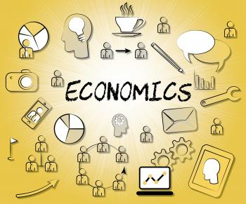 Economics Icons Shows Sign Fiscal And Economizing
