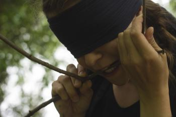 Edina Miskei blindfolded in Novi Sad