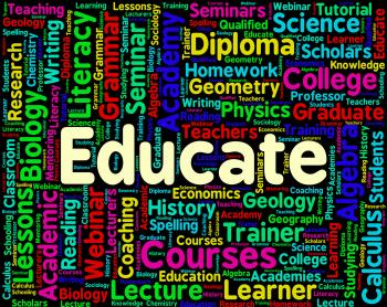 Educate Word Represents Words Studying And Educating