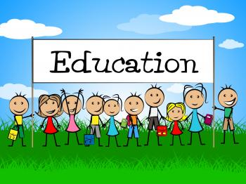 Education Banner Indicates Toddlers Kid And Learning