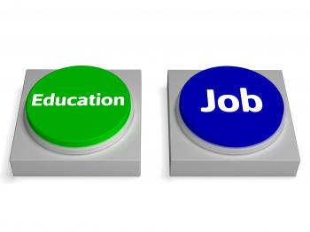 Education Job Buttons Shows Learning Or Earnng