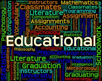Educational Word Represents College Learned And University