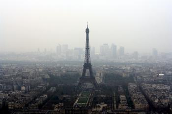 Eiffel Tower View in Foggy Weather