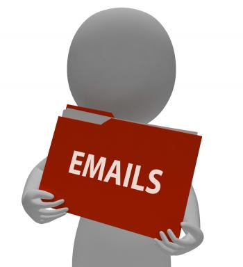 Emails Folder Indicates Mailing Office And Correspondence 3d Rendering