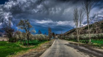 Empty Concrete Road Surrounded by Trees and Grass Under Blue Sky With Heavy Clouds