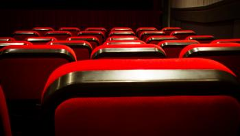 Empty movie theater with red seats cinem