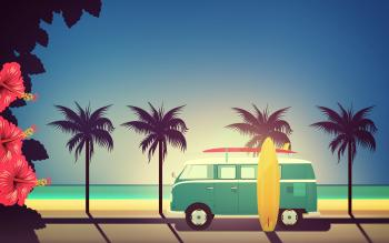 End of Summer - Illustration with Surfers Van with Copyspace
