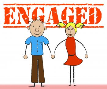 Engaged Couple Represents Friendship Romantic And Boyfriend
