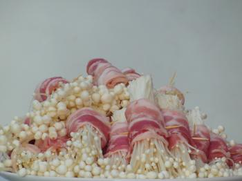 Enokitake Mushrooms Wrapped in Bacon