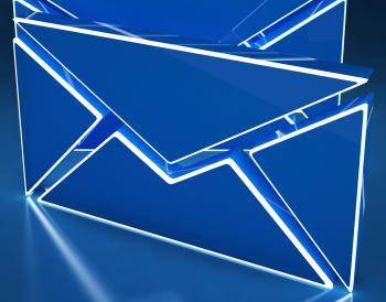 Envelopes On Background Shows Internet Mailing