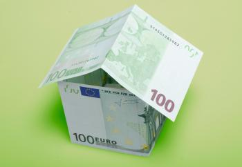 Euro banknotes as House