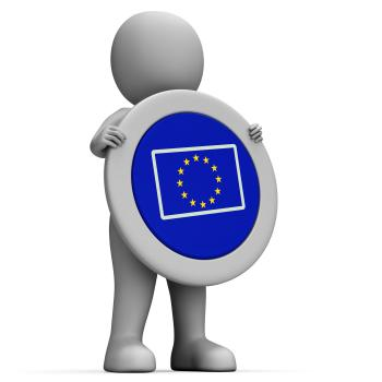 Euro Flag Means European Union And Advertisement