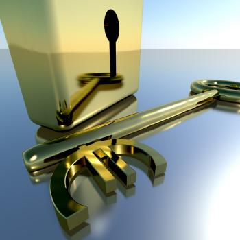 Euro Key With Gold Padlock Showing Banking Savings And Finance