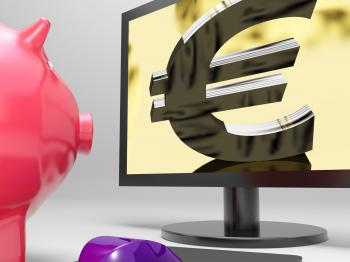 Euro Screen Shows Finance Wealth And Prosperity