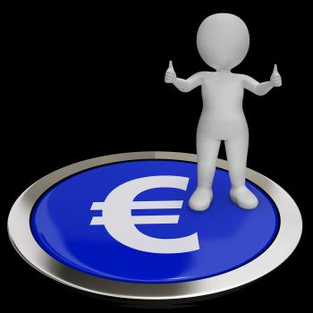 Euro Symbol Button Shows Money And Investments