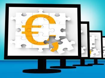 Euro Symbol On Monitors Showing Europe Profits